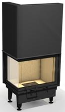 """48955113 Wkład kominkowy powietrzny 14kW ARYSTO 10 L """"DJ"""" H szyba podnoszona do góry, dopalanie spalin + rekuperacja (okno lewe bez szprosa, wymiar frontu: 670 + 450 x 570)"""