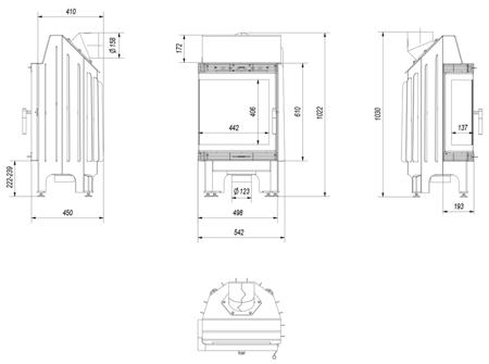 DOSTAWA GRATIS! 30040873 Wkład kominkowy 8kW Blanka BS (lewa boczna szyba bez szprosa) - spełnia anty-smogowy EkoProjekt