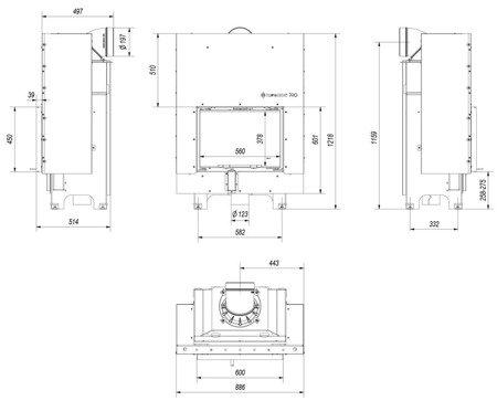 DOSTAWA GRATIS! 30055016 Wkład kominkowy 10kW MBM Gilotyna (szyba prosta, drzwi podnoszone) - spełnia anty-smogowy EkoProjekt