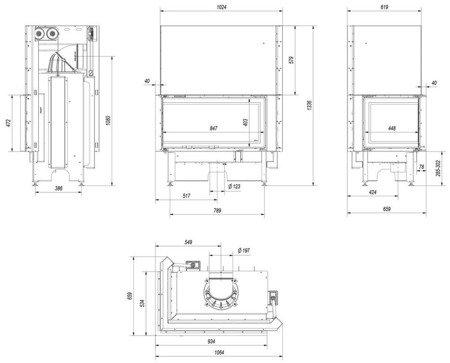 KONS Wkład kominkowy 14kW Nadia Gilotyna (lewa boczna szyba bez szprosa, drzwi podnoszone do góry) - spełnia anty-smogowy EkoProjekt 30046757