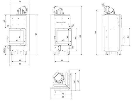 KONS Wkład kominkowy 8kW MBN 8 BS (prawa boczna szyba bez szprosa) - spełnia anty-smogowy EkoProjekt 30055022