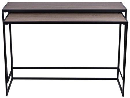 Komplet 2 stolików dębowych z metalowymi nogami 52969123